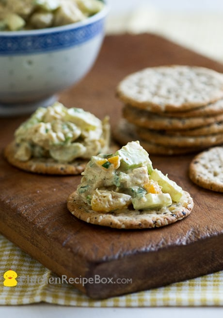 Easy and Wonderful Curry Chicken Salad Recipe- perfect for lunch sandwiches and snacks. Via ChickenRecipeBox.com