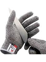 cut safe gloves holding a knife