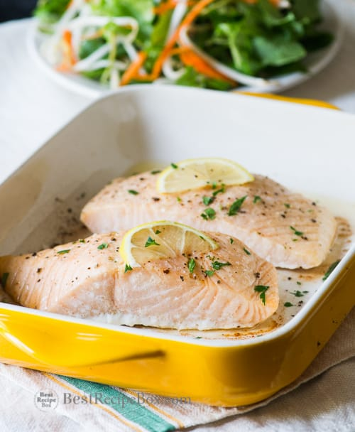 Easy Oven Baked Salmon Recipe - A healthy and easy 30 minute recipe for dinner on BestRecipeBox.com
