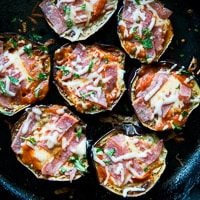 Skillet Eggplant Pepperoni Pizza