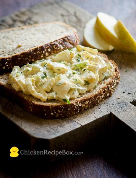 Easy Egg Salad Recipe on a cutting board