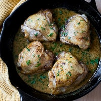 Creamy Garlic Sauce Lemon Chicken Thighs
