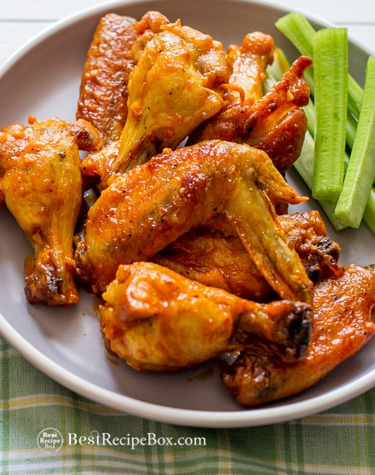 Best Garlic Chicken Wings Recipe loaded with flavor on a plate