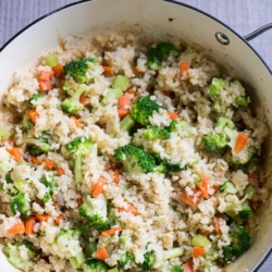 Healthy fried brown rice recipe with vegetables @bestrecipebox