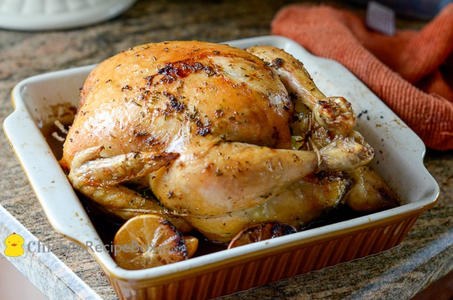 Meyre Lemon Oven Roast Chicken with Lemon and Rosemary on a plate