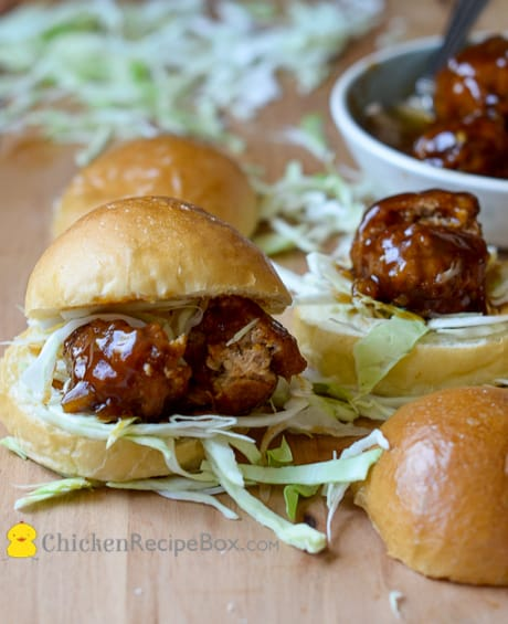 Great BBQ Chicken Meatball Sliders-- Juicy, tender and deliciously smoky. via ChickenRecipeBox.com