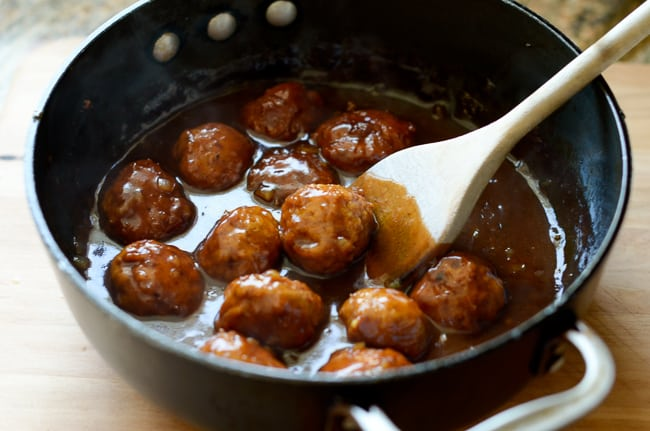 Smoky BBQ Chicken Meatball Sliders Recipe in a cooking pan