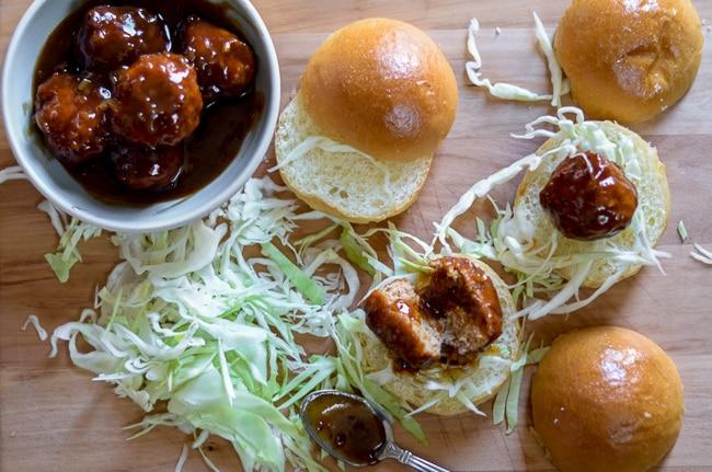 Smoky BBQ Chicken Meatball Sliders Recipe via ChickenRecipeBox.com
