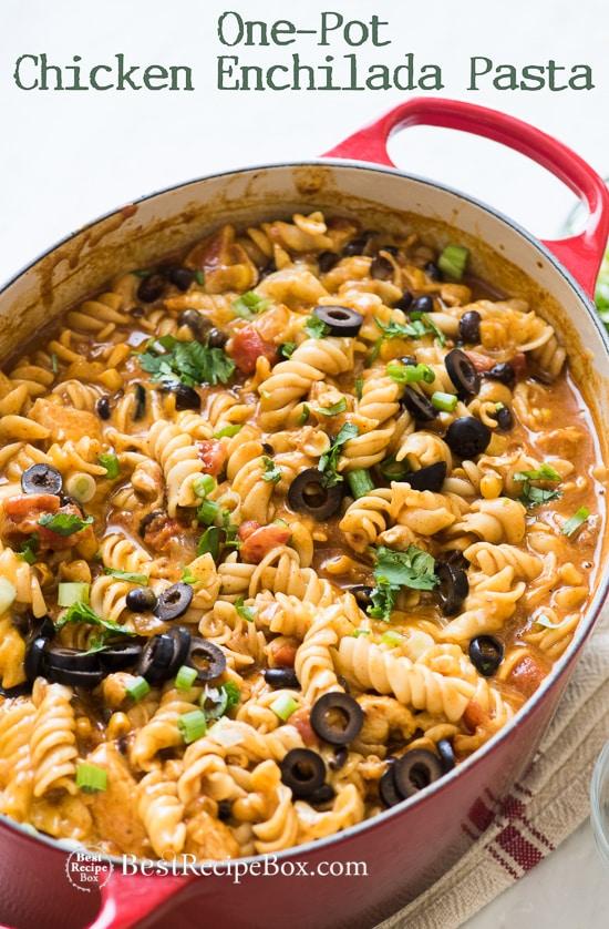 One Pot Cheesy Chicken Enchilada Pasta Recipe in casserole