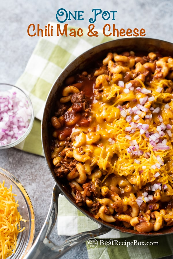 One Pot Chili Mac and Cheese Recipe in a cooking pan