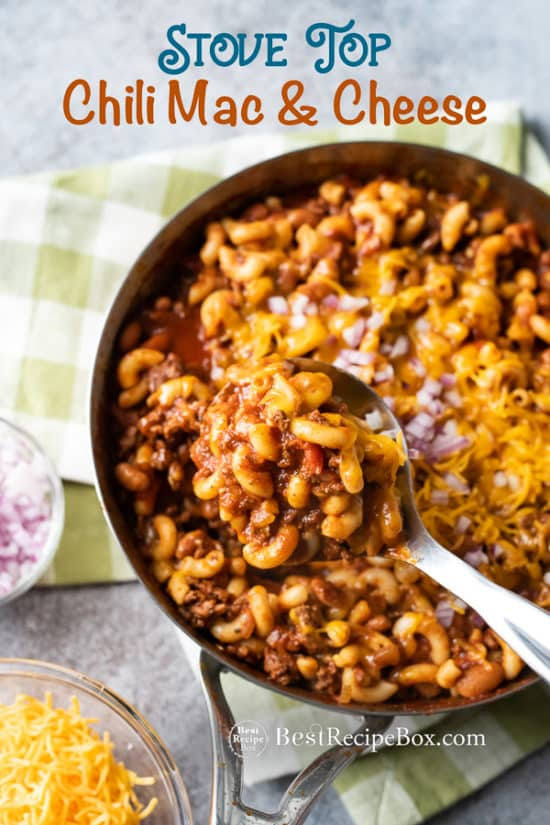 One Pot Chili Mac and Cheese Recipe in a cooking pan with spoon