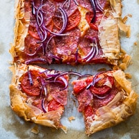 Phyllo Dough Pizza with Pepperoni and Tomato