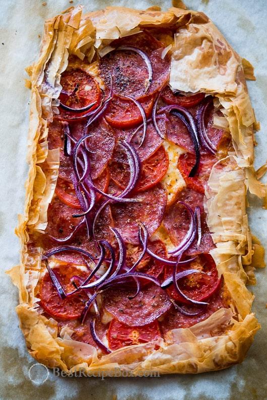 Phyllo Dough Pepperoni Pizza Recipe: Flaky and Delicious! | @BestRecipeBox