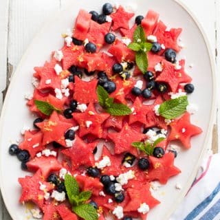 Fourth of July Red White and blue Watermelon Fruit Salad Recipe | @bestrecipebox