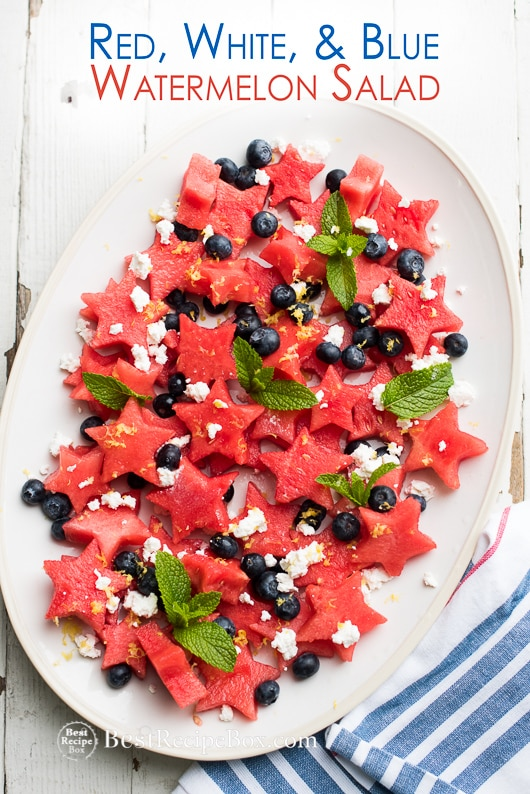 Fourth of July Red White and blue Watermelon Fruit Salad Recipe   @bestrecipebox