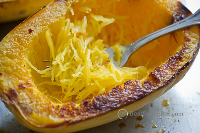 How to Roast Spaghetti Squash- the perfect healthy, low carb and low fat meal! on BestRecipeBox.com
