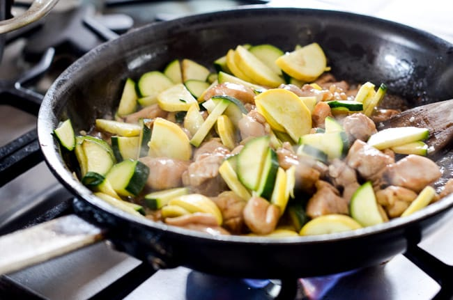 Healthy Chicken Stir Fry Recipe with Zucchi via BestRecipeBox.com