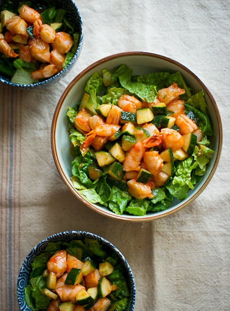 Make this classic appetizer into a salad! Sriracha Shrimp Cocktail Salad Recipe in a bowl