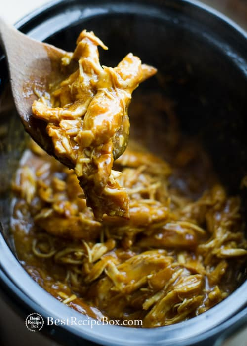 Tender, Moist and Delicious Slow Cooker Honey Mustard Chicken Recipe on BestRecipeBox.com