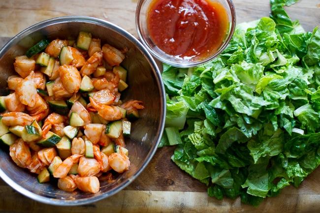 Make this classic appetizer into a salad! Srirahca Shrimp Cocktail Salad Recipe step by step