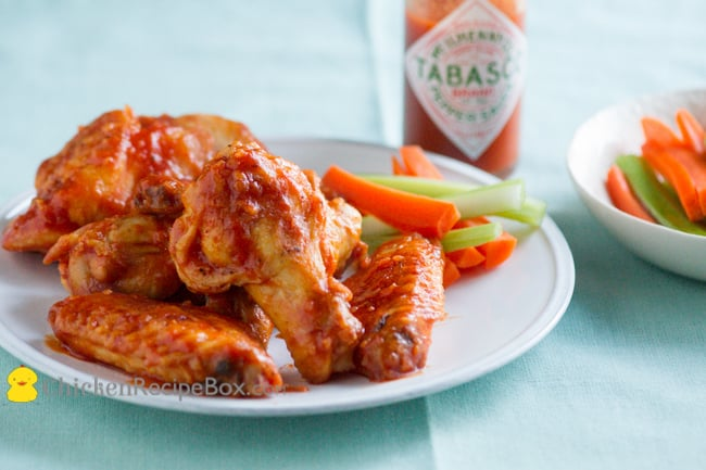 Easy and Healthy Tabasco Chicken Wings Recipe via ChickenRecipeBox.com