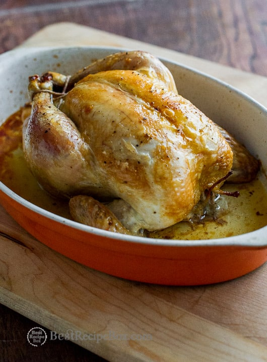Easy Roast Chicken Recipe that's juicy, crispy skin and delicious! @bestrecipebox