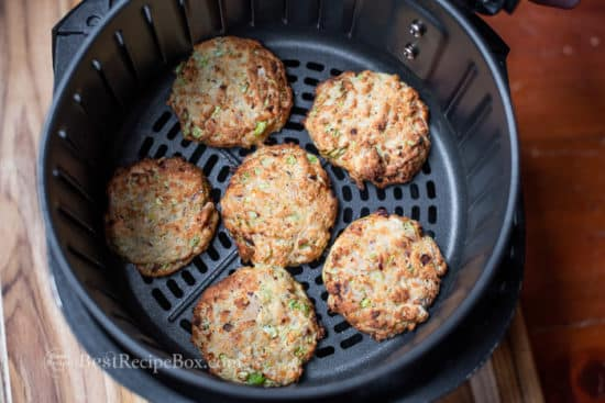 healthy fish cakes in an air fryer basket