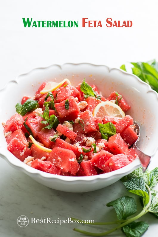 Refreshing Healthy Watermelon Feta Salad Recipe with Mint for Summer | @bestrecipebox