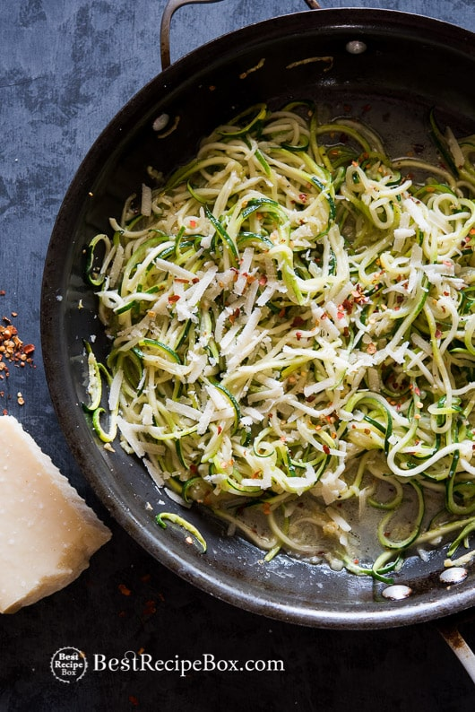 Low Carb Keto Zucchini Noodle Recipe Garlic Butter Parmesan Cheese